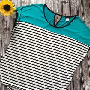Perseption stripe color block blouse